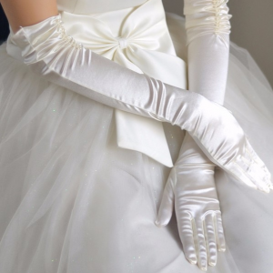 Перчатки невесты с пальцами длинные