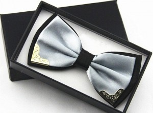 Бабочка для жениха серебро