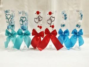 Свадебные фужеры Новосибирск мятные, голубые, красные