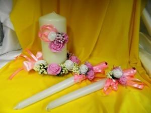Семейный очаг розовый, свадебные свечи