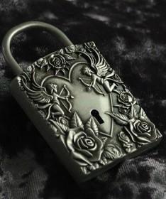 """Свадебный замок """"Ангелы"""" античное серебро"""