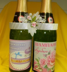 """Украшение на шампанское """"Два кольца"""" белые"""