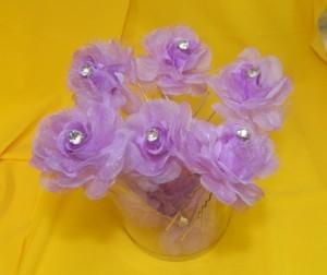 Шпильки с фиолетовыми цветочками