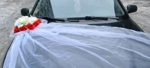 Фатин на капот свадебного авто