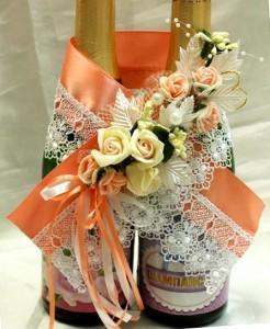 Украшение на свадебное шампенское