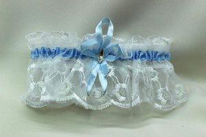 Подвязка невесты белая с голубым