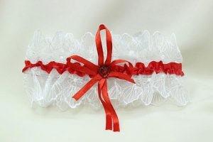 Подвязка невесты белая с красным