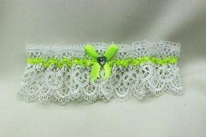 Подвязка невесты белая с салатовым