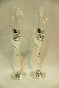 Свадебные бокалы на металлической ножке серебренные