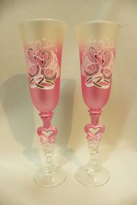 Свадебные бокалы розовые