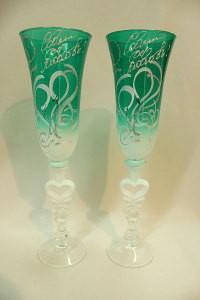 Свадебные бокалы зеленые