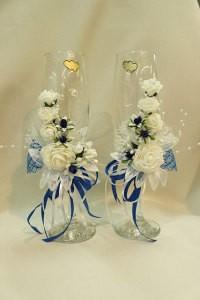 Свадебные бокалы белые с синим