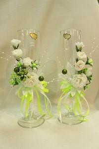 Свадебные бокалы белые с желтым