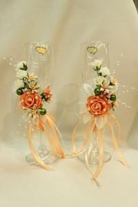 Свадебные бокалы персиковые оранжевые