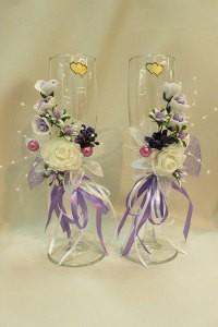 Свадебные бокалы сиреневые