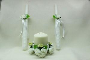 Семейный очаг, свадебные свечи белые с зеленым