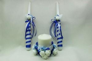 Семейный очаг, свадебные свечи синие