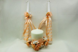 Семейный очаг, свадебные свечи персиковые