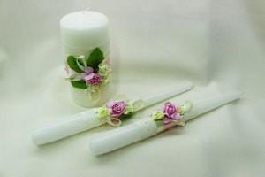 Семейный очаг, свадебные свечи зеленые с розовым