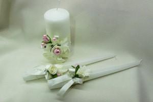Семейный очаг, свадебные свечи айвори с розовым