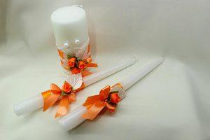 Семейный очаг, свадебные свечи оранжевые