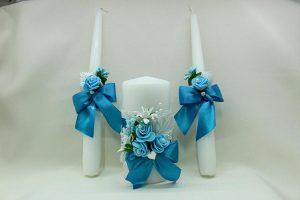 Семейный очаг, свадебные свечи бирюзовые