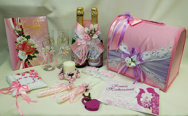 Набор свадебный розовый