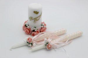 Семейный очаг пудровый свадебные свечи