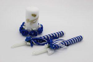 Семейный очаг синий свадебные свечи
