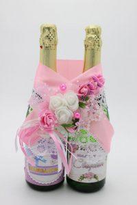 Украшение на шампанское розовый цвет