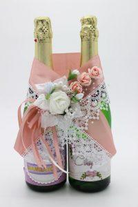 Украшение на шампанское пудровый цвет