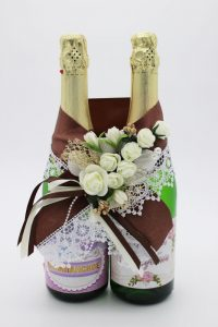 Украшение на шампанское шоколадный цвет