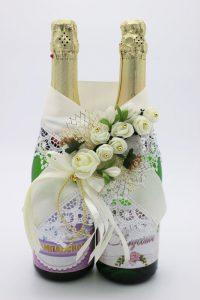 Украшение на шампанское цвет айвори шампань