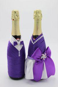 Украшение на шампанское жених и невеста сиреневое