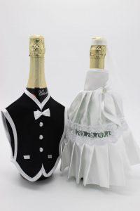 Украшение на шампанское жених и невеста белое с черным