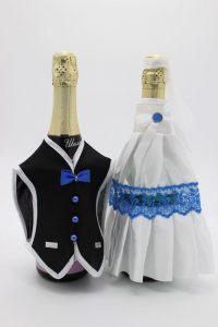 Украшение на шампанское жених и невеста белое с синим