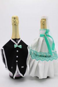Украшение на шампанское жених и невеста белое с мятным