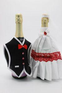 Украшение на шампанское жених и невеста белое с красным