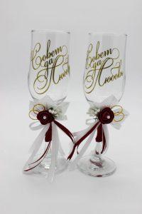 Свадебные бокалы бордовые Совет да любовь