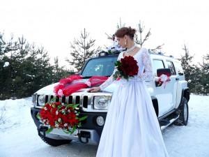 Свадебный авто с украшениями Hummer H3 в Новосибирске