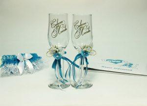 Бокалы-свадебные-голубые-2