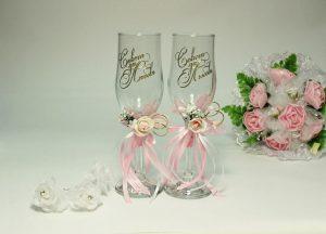 Бокалы-свадебные-розовые-2