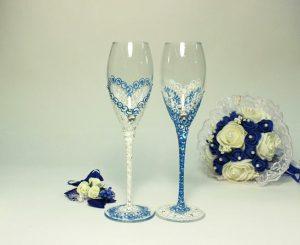 Бокалы-свадебные-роспись-голубые