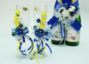 Свадебные-бокалы-синий-с-желтым