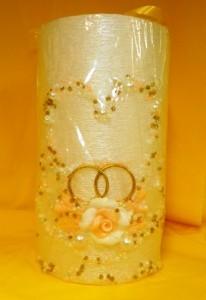 Свадебная свеча с отделкой из бисера