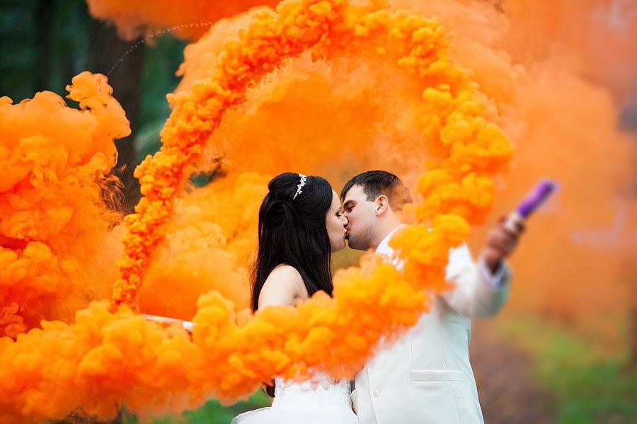 цветной дым оранжевый