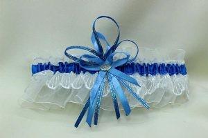 Подвязка невесты белая с синим