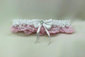 Подвязка невесты белая с розовым