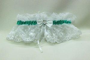Подвязка невесты белая с зеленым