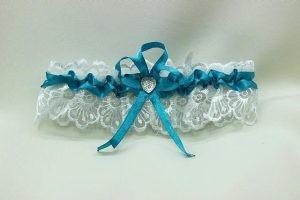 Подвязка невесты бирюзовая